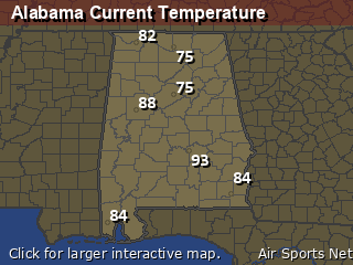 Alabama's Current Temperature Map