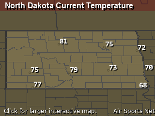 North Dakota's Current Temperature Map
