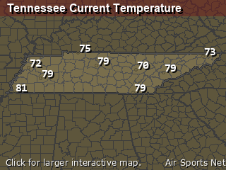 Tennessee's Current Temperature Map