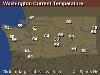 Washington's Current Temperature Map