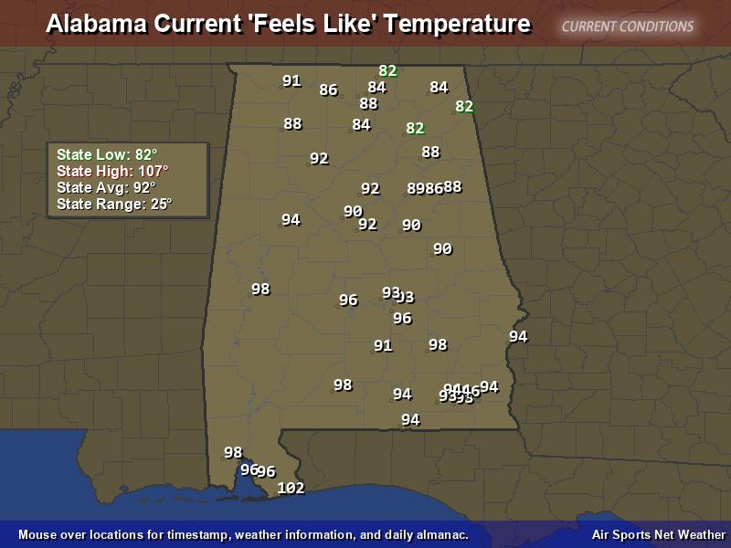Alabama Feels Like Temperature Map