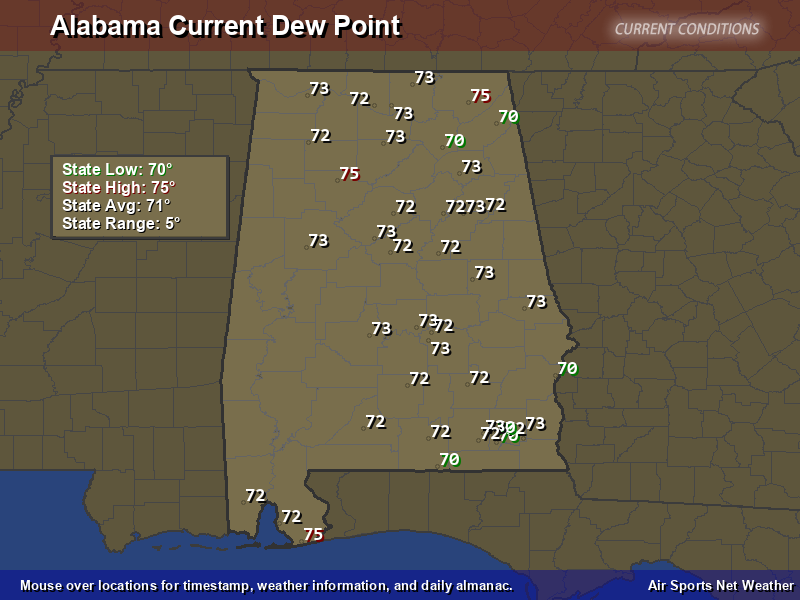 Alabama Dew Point Map Air Sports Net - Map of dew points us