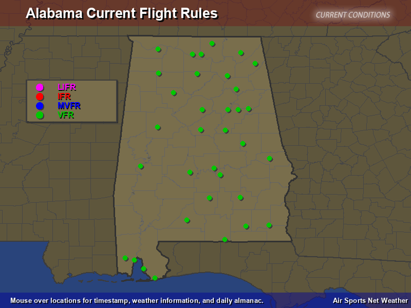 Alabama Flight Rules Map