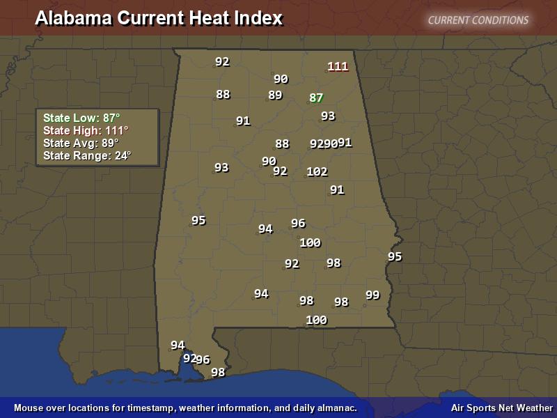 Alabama Heat Index Map