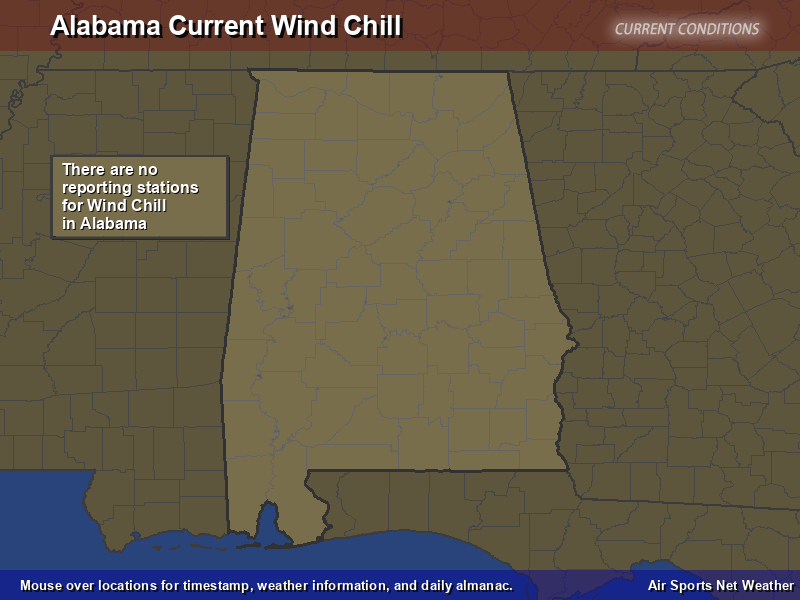 Alabama Wind Chill Map