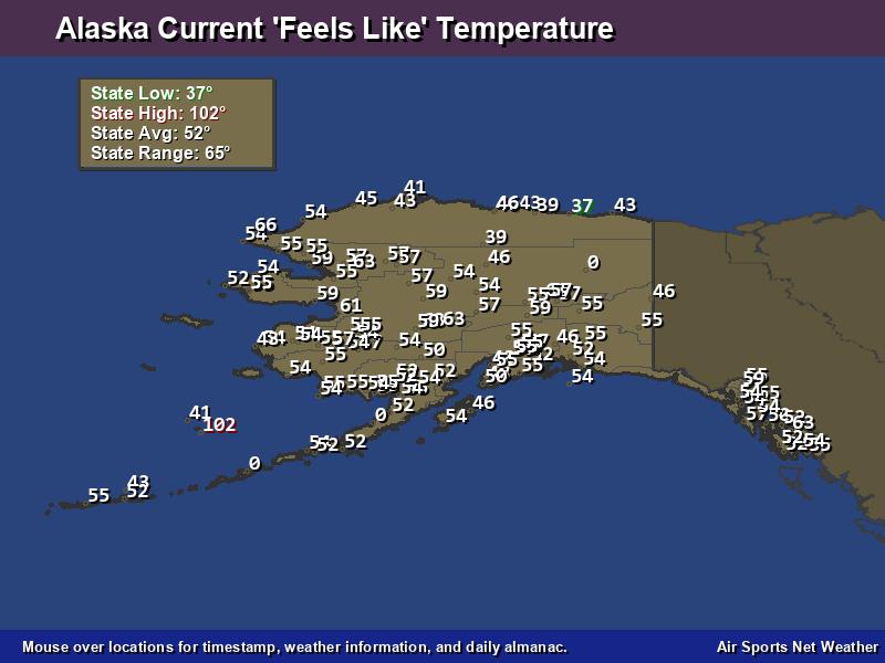 Alaska Feels Like Temperature Map