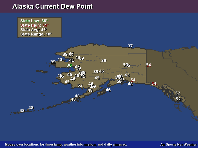 Alaska Dew Point Map Air Sports Net - Map of dew points us