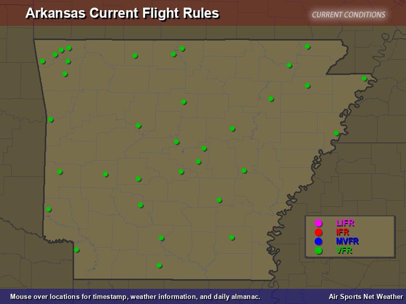 Arkansas Flight Rules Map