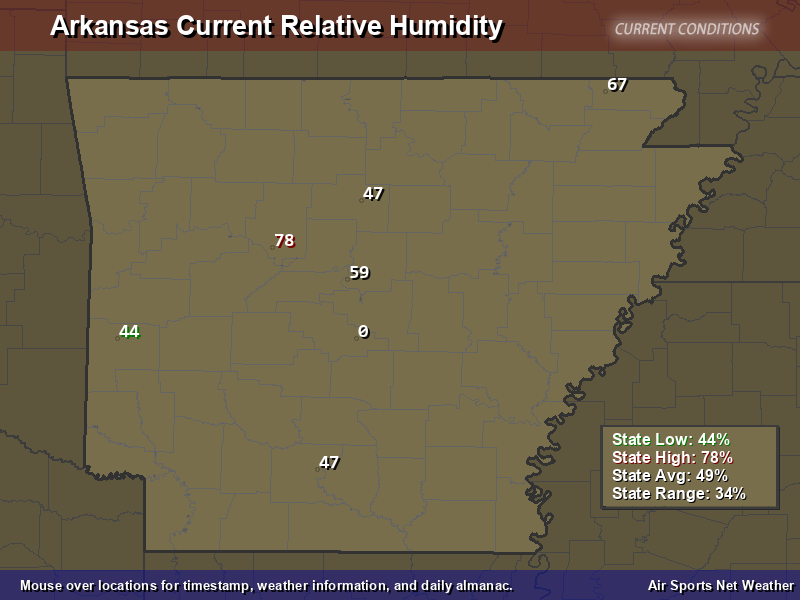 Arkansas Relative Humidity Map