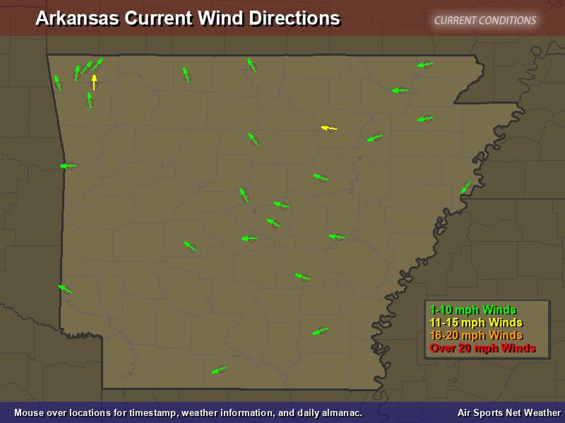 Arkansas Wind Direction Map