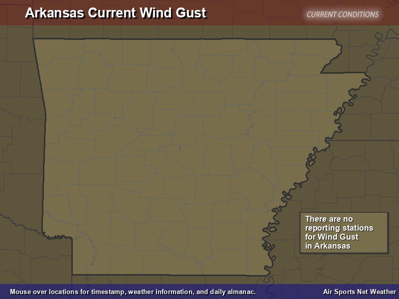 Arkansas Wind Gust Map