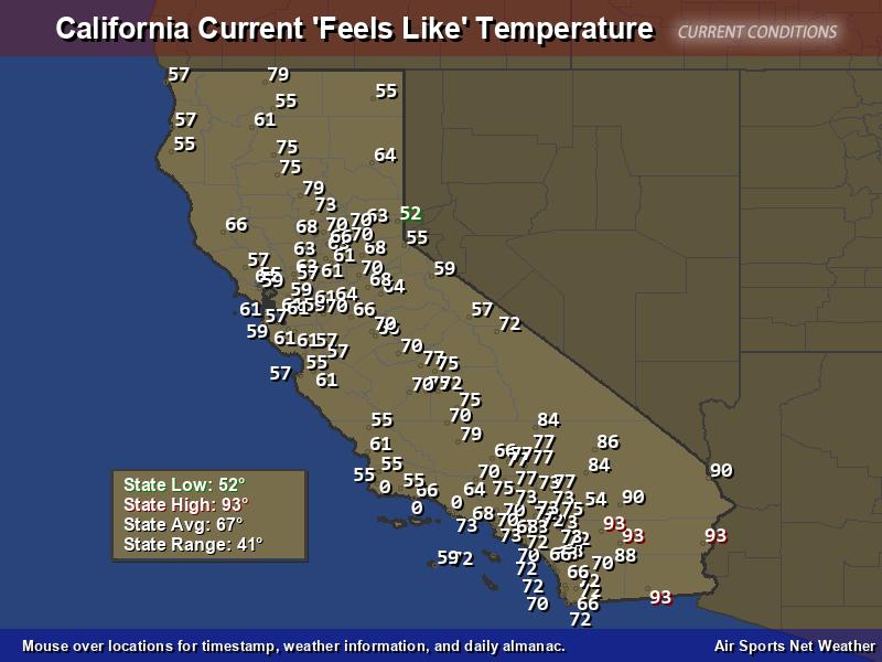 California Feels Like Temperature Map - Air Sports Net