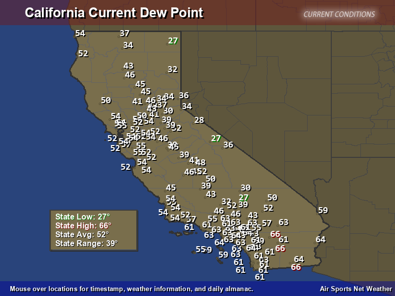 California Dew Point Map Air Sports Net - Map of dew points us