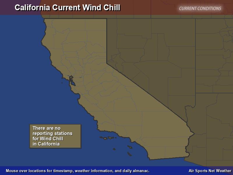 California Wind Chill Map