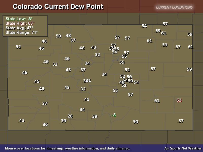 Colorado Dew Point Map