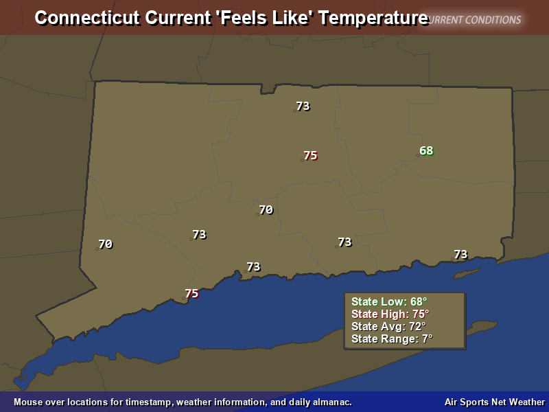 Connecticut Feels Like Temperature Map