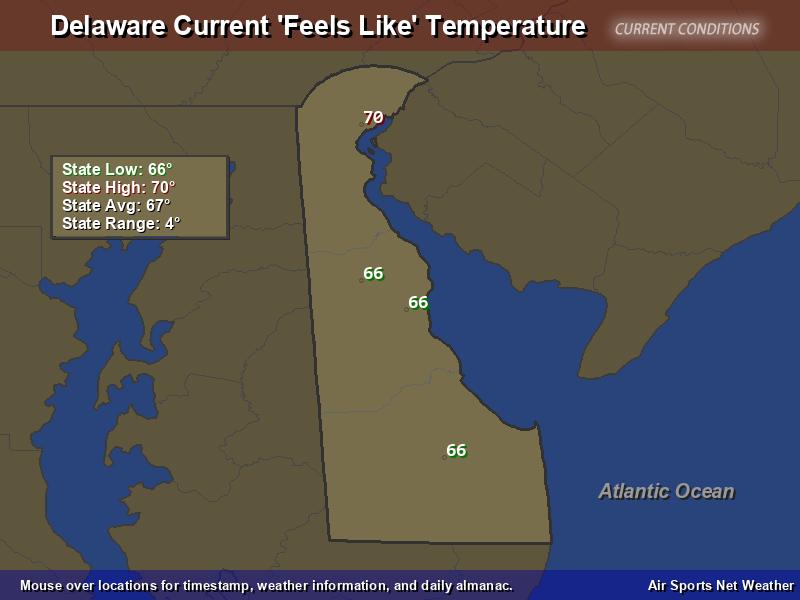 Delaware Feels Like Temperature Map