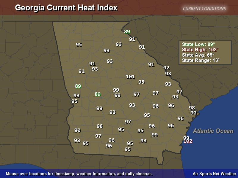 Georgia Heat Index Map
