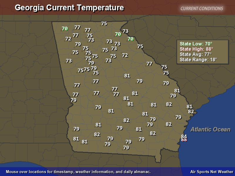 Georgia Temperature Map Air Sports Net - Map us high temperature tomorrow