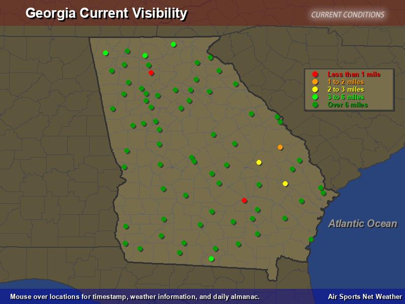 Georgia Visibility Map  Air Sports Net