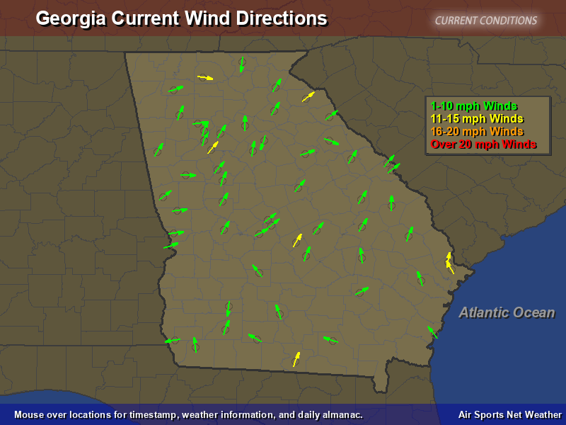 Georgia Wind Direction Map - Air Sports Net on
