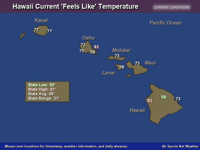 Hawaii Feels Like Temperature Map