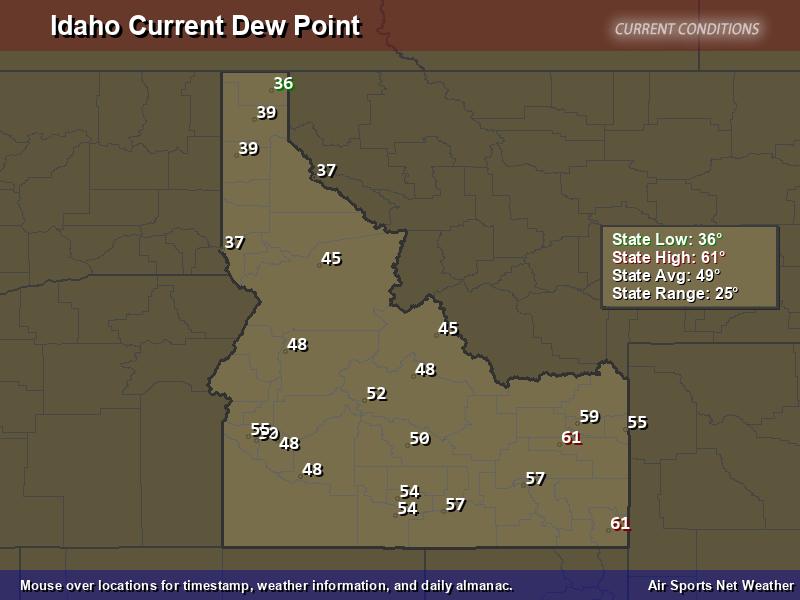 Idaho Dew Point Map