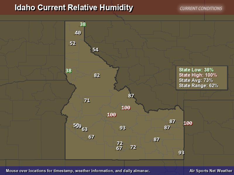 Idaho Relative Humidity Map