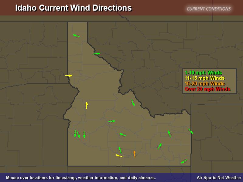 Idaho Wind Direction Map