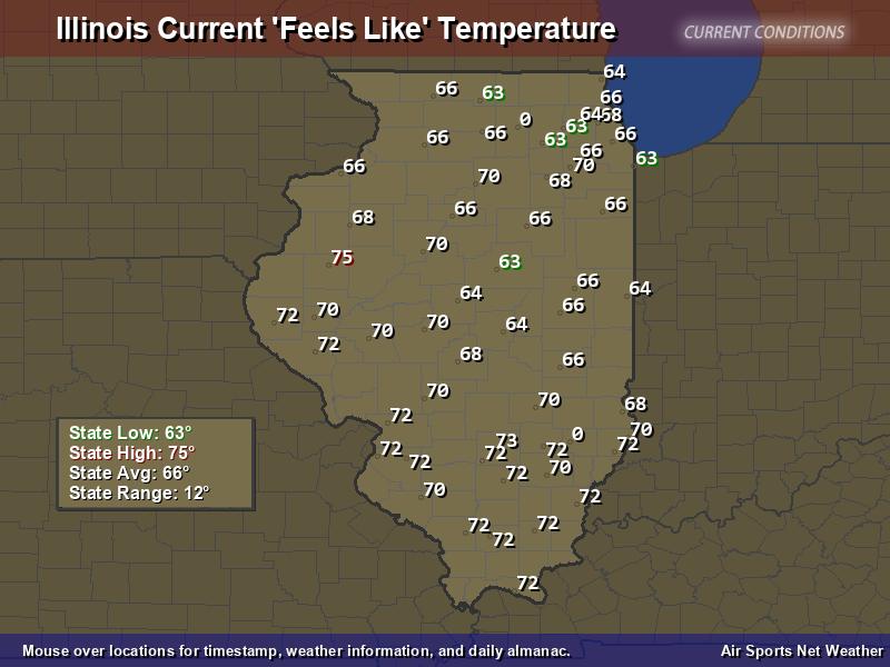 Illinois Feels Like Temperature Map