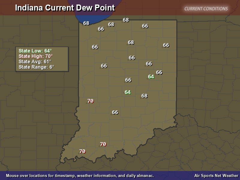 Indiana Dew Point Map