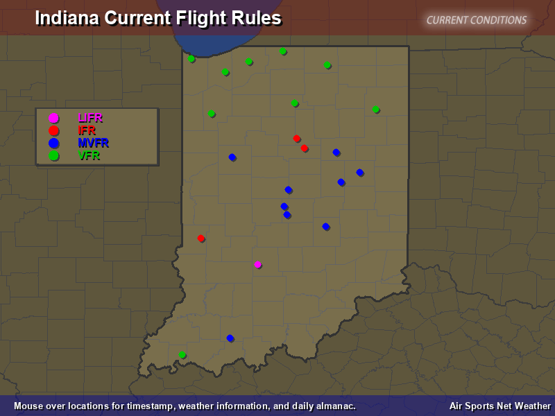 Indiana Flight Rules Map