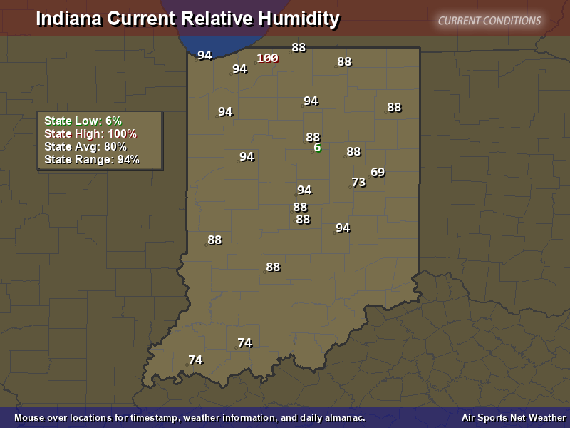Indiana Relative Humidity Map