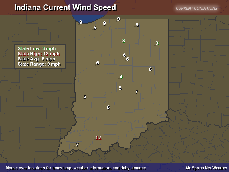 Indiana Wind Speed Map