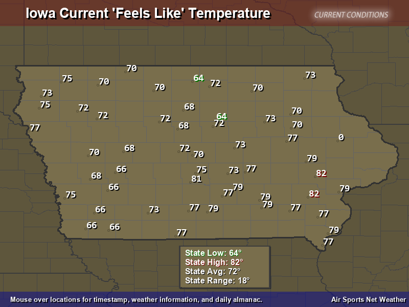 Iowa Feels Like Temperature Map