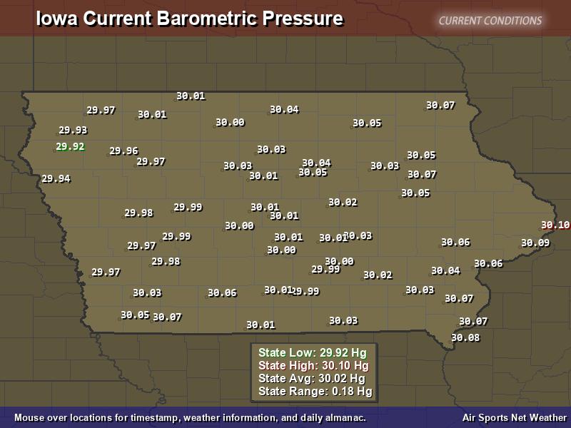 Iowa  Barometric Pressure Map