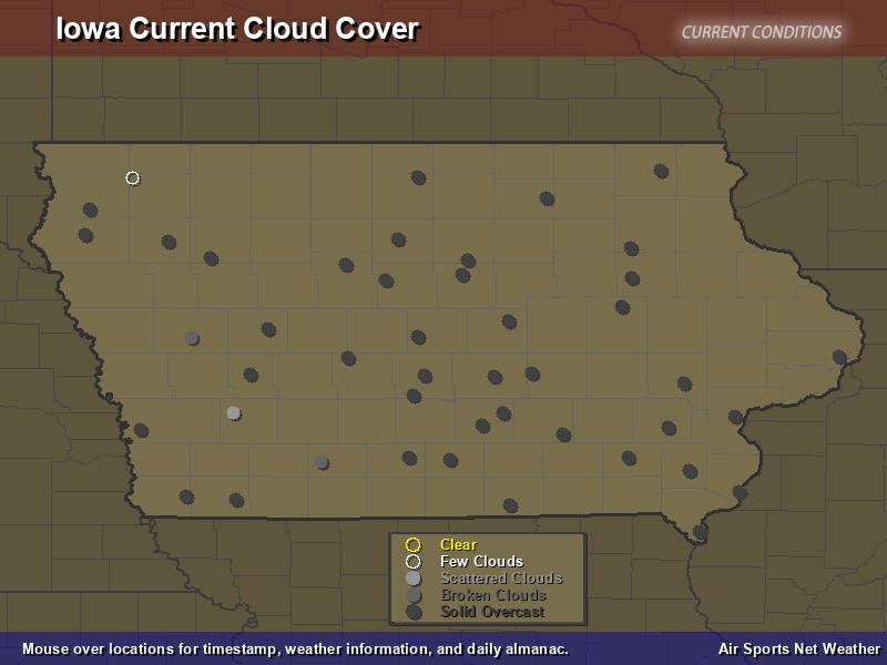 Iowa Cloud Cover Map