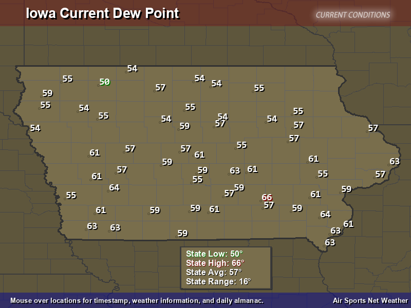 Iowa Dew Point Map