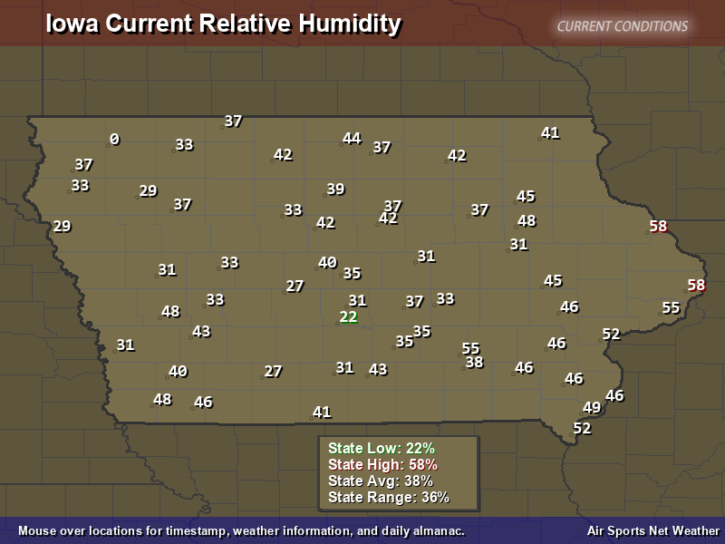Iowa Relative Humidity Map