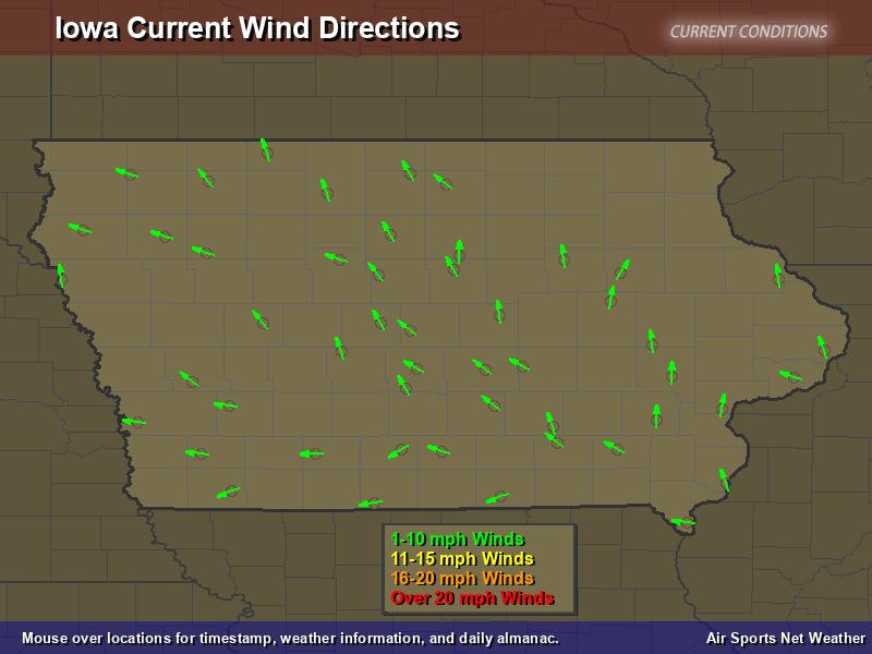 Iowa Wind Direction Map