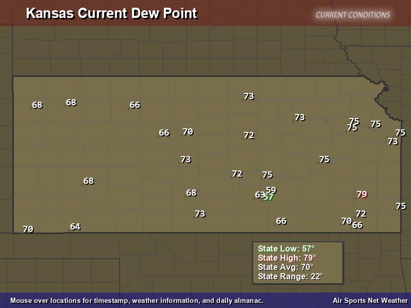 Kansas Dew Point Map
