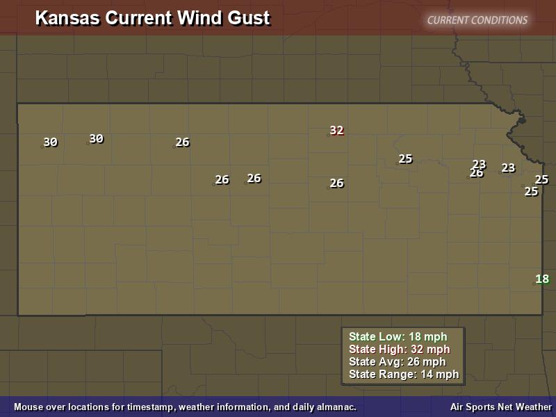 Kansas Wind Gust Map