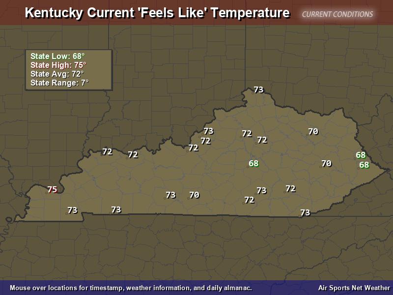 Kentucky Feels Like Temperature Map