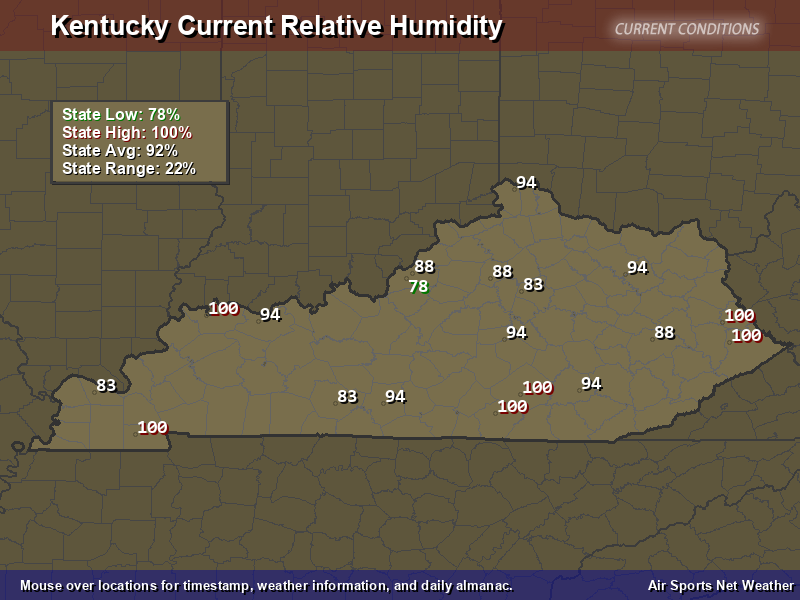 Kentucky Relative Humidity Map