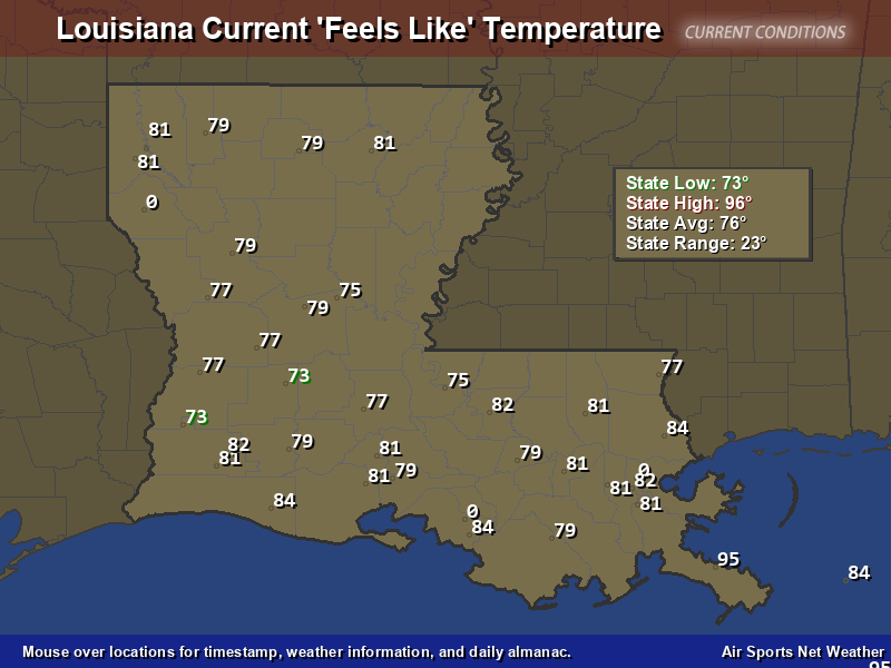 Louisiana Feels Like Temperature Map