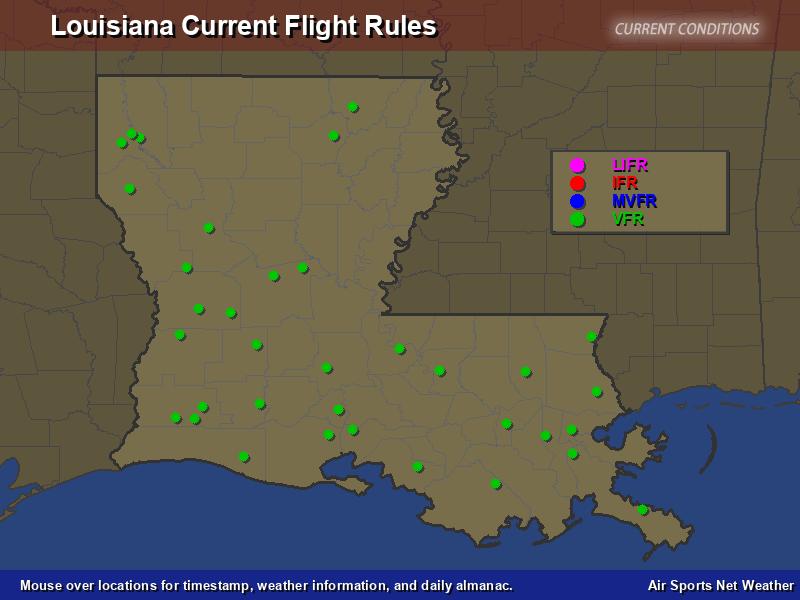 Louisiana Flight Rules Map
