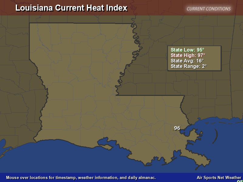 Louisiana Heat Index Map