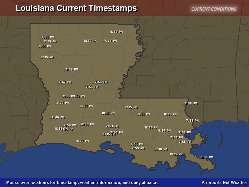 Louisiana Timestamp Map