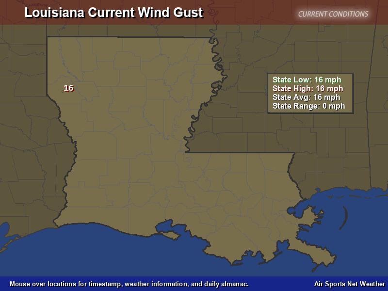 Louisiana Wind Gust Map