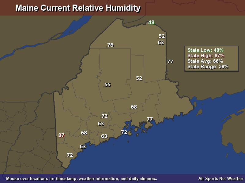 Maine Relative Humidity Map